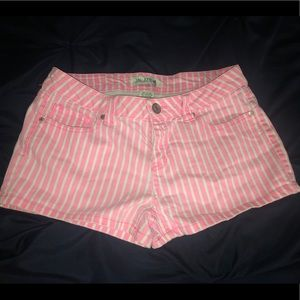 Pants - Pink and White Candy Stripe Summer Shorts